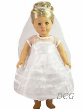 "Afw Bridal Communion Dress for 18"" Dolls Clothes Outfit Wedding Gown Veil New"