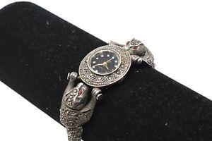 A Cool Vintage Ladies Lasies Sterling Silver 925 Marcasite Quartz Wristwatch