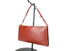 LOUIS VUITTON Pochette Accessoires Brown Epi Leather Hand Bag LP1112