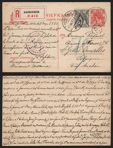Netherlands WWI 1917 - Registered Stationery Harderwijk to Belgium - Censor I133