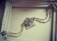 Bridal Triple Hair Comb Drape Diamante ivory pearl Vintage Gatsby hair piece