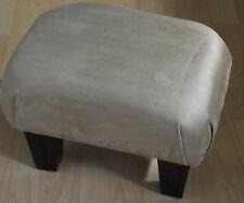 Superb new beige faux suede small footstool dark solid wood legs foot stool uk