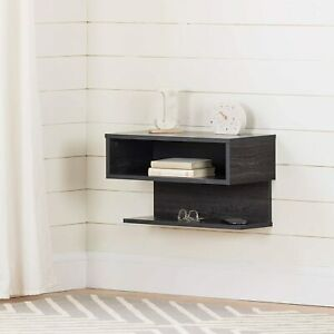 NEW~South Shore Furniture Sazena Floating Nightstand, Dark Gray Oak