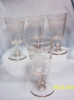 GLASSES Vintage (4) Glass Ice Tea Glass Bulbous Stem Etched Holiday Design (A-2)