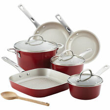 Cookware Set 10piece Porcelain Enamel Nonstick Home Kitchen Dining Sienna Red