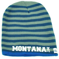 Montana State Knit Beanie Scrum Striped Cuffless Gray Hat Winter Blue USA Toque
