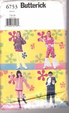 Butterick 6753 Austin Powers, Mod Groovy 60's Hippie Clothes - Kid Sizes 7 8 10
