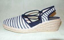 RONDINAUD Women's Closed Toe WEDGE HEEL Blue/White Nautical Stripe Sandals UK 4