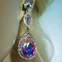 Chandelier Earrings Rhinestone Crystal Bridal Prom Pageant 2.5 inch Long AB