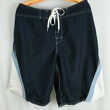 Billabong Board Shorts Pinstripe Tie Front Zipper Pocket Navy Blue Mens Size 34