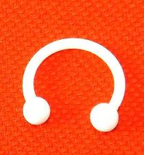Piercing a ferro di cavallo TEFLON/bioplastica - Bianco - 1,2mm 10 mm -