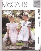 8697 UNCUT Vintage McCalls Sewing Pattern Little Girls Dress Pinafore Ruffles FF