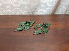 Old Christmas Holly Decoration Cast Iron Candle Stick Holders Patd Date 1921