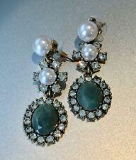 "Green Jade & Pearl Gold made w Swarovski Crystal Dangle Drop Earrings 2"" Long"