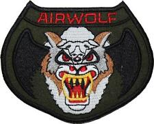Airwolf Badge Camo Green Embroidered Patch Sew/Iron-on 10cm Jan-Michael Vincent