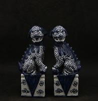 "6.7""Chinese Ceramics Jingdezhen Blue White Porcelain Foo Fu Dog Lion Statue Pair"