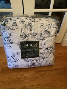 NIP Ralph Lauren Blue White Watercolor Floral Queen Comforter & Shams Set 3pc
