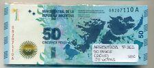 ARGENTINA BUNDLE 25 NOTES 50 PESOS (2015) P 362 UNC