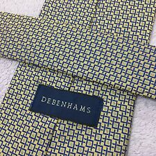 MENS DEBENHAMS 9.5cm GOLD BLUE WOVEN GEOMETRIC TWO TONE LUXURY POLYESTER TIE