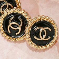 Chanel Buttons 2pc CC 🖤✨  Black & Gold 16 mm Unstamped 2 Buttons AUTH!!