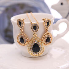Women Rhinestone Waterdrop Pendant Necklace Drop Earrings Jewellery Set Stylish