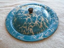 """Antique Graniteware  Granite-ware Blue and White Large Swirl Lid 10 3/4"""" AS IS"""
