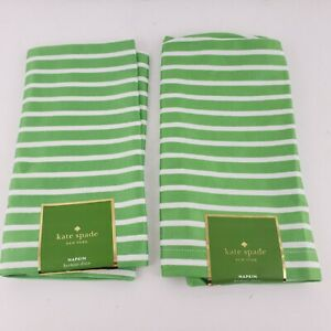 2: Kate Spade Harbour Drive Napkins Pic Green & White Stripes New 20x20""
