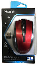 New IHome Precision Wireless Desktop Mouse Red New Home Office School