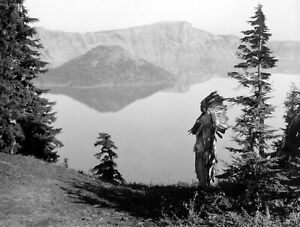 KLAMATH Chief Crater Lake OR Headdress c1923 E.S.CURTIS Vintage Photo Reprint