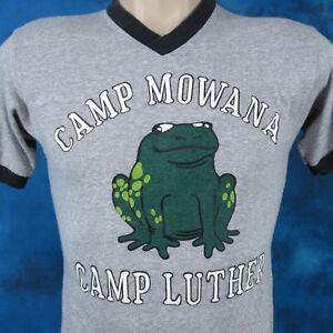 vintage 80s CAMP MOWANA FROG CHAMPION V-NECK RINGER T-Shirt XXS cartoon thin