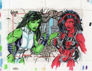 2013 Marvel Greatest Battles sketch card uncut by Michael Glover