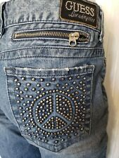 GUESS PREMIUM  DAREDEVIL SKINNY JEANS SIZE 32 PEACE SIGN POCKET ZIPPER ANKLES