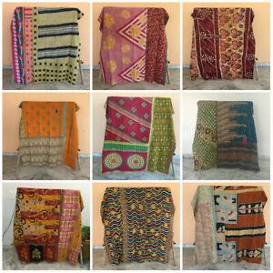 Vintage Quilt Coverlet Blanket Kantha Quilt Indian Reversible Bedding Bedspread