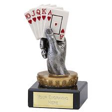 FLEXX POKER CARDS HAND ACE ROYAL FLUSH TROPHY AWARD FREE ENGRAVING 137A.FX018