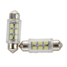2pcs Blanco Dome 6 SMD LED Car Interior Festoon Bombilla luz lampara C5W 36mG6A8