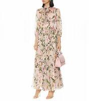 FP31 2019 Womens Designer Inspired Luxury Silk Lily Flower Pattern Maxi Dress
