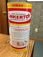 Rare Classic TINKERTOY Jumbo Builder Construction Set Wood Pieces all included