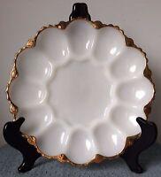 vintage white milk glass deviled egg dish plate tray scalloped