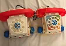 Vintage 1961 Fisher Price Chatter Phone #747 Telephone Pull Toy Moving Eyes 2