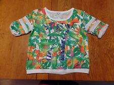 #1798-9 Juicy Couture 3/4 Rolled Sleeve Floral French Terry Scoop Neck Top L