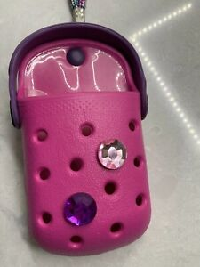 Crocs O-Dial Pink Fuschia Purple Cell Phone Case Holder With Strap Bling NWOP