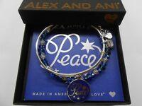 Alex and Ani Navy Holiday Peace Set of 2 Charm Bracelet Shiny Silver NWTBC