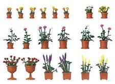 BNIB OO / HO BUSCH 1209 FLOWERPOT SET WITH FLOWERS / PLANTS