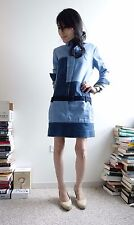 Celine PF 2011 Phoebe Philo Patchwork One Piece Denim Dress Sz 36 Excellent