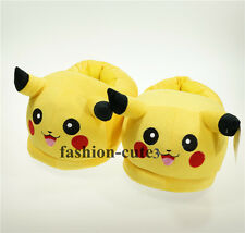 """New Pokemon Pikachu Soft Warm Cosplay Adult Plush Shoes Slippers 11"""" Indoor"""