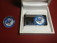 FRENCH DGSE (SECURITY SERVICE) MONEY CLIP & SILVER PLATED DGSE BADGE, BOXED