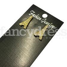 Small Gold Diamante Eiffel Tower Earrings Paris France Fancy Dress Accessory