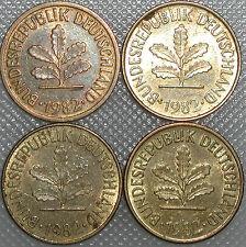 5 Pfennig 1982 D F G J Kompletter Satz