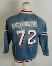 Vintage Ecko Denim Letterman Varsity Jacket Coat Jean Patches XL 90s Hip Hop