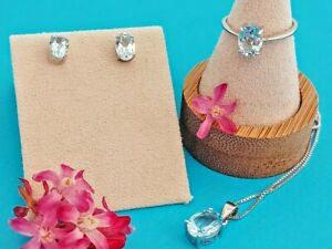 Natural Blue Topaz 925 Sterling Silver Necklace, Earrings & Ring sz 7 Set.